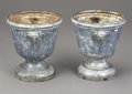 Decorative Arts, French:Other , A Pair of French Enameled Steel Garden Urns. . Late 18th - Early19th Century. Steel. 18 x 16 inches (45.7 x 40.6 cm). ... (Total: 2Items)