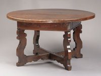 AN ITALIAN BAROQUE WALNUT TABLE 18th Century with later elements 31 x 56 inches (78.7 x 142.2 cm)