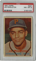 Baseball Cards:Singles (1950-1959), 1957 Topps Jim Pendleton #327 PSA NM-MT 8. Of the 211 submitted to PSA at the time of this writing, only four #327 Jim Pend...
