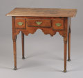 Furniture, A Queen Anne Oak Lowboy . . Unknown maker, English. 18th Century. Oak. Unmarked. 27-1/2 x 34 x 20-1/2 inches (69.9 x 86.4 x ...