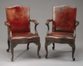 Furniture , A Pair of Chippendale Style Mahogany Armchairs. Unknown maker, English. Early 19th century. Mahogany, leather. Unmarked. 3... (Total: 2 Items)