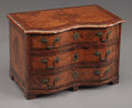 Decorative Arts, Continental, A Northern Italian or German Burl Walnut Miniature Commode .. Circa 1790-1810. Walnut. 10-1/2 x 16 x 10 inches ...