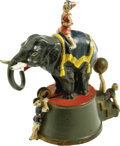 Antiques:Toys, Elephant and Three Clowns Mechanical Bank made by J. & E.Stevens Co., Cromwell, CT, circa 1882. Move the ball on theacroba...