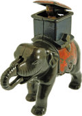 Antiques:Toys, Elephant Howdah Mechanical Bank - Man Pops Out...