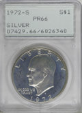 Proof Eisenhower Dollars: , 1972-S $1 Silver PR66 PCGS. PCGS Population (183/355). NGC Census:(7/48). Mintage: 1,811,631. Numismedia Wsl. Price for NG...