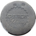Colonials, (1790) PENNY -- Damage -- Albany Church Penny, No D, PCGS Genuine. Fine Details. Breen-1169, W-8495, R.7....
