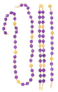 Estate Jewelry:Necklaces, Amethyst, Gold Jewelry. ... (Total: 3 Items)