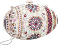 Judith Leiber Full Bead Silver & Multicolor Crystal Egg Minaudiere Evening Bag Very Good to Excellent Condition
