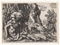 Books:Prints & Leaves, Heinrich Aldegrever. Engraving Depicting the Good Samaritan Tendingto the Traveler's Wounds. [From The Story of the Goo...