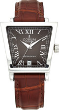 Estate Jewelry:Watches, Corum Gentleman's Limited Edition Stainless Steel Trapeze Leather Strap Wristwatch. ...