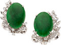 Estate Jewelry:Earrings, Jadeite Jade, Diamond, White Gold Earrings. ...