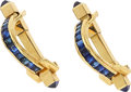 Estate Jewelry:Cufflinks, Sapphire, Gold Cuff Links, French. ...