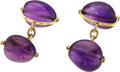 Estate Jewelry:Cufflinks, Amethyst, Gold Cuff Links, Trianon. ...