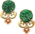 Estate Jewelry:Earrings, Retro Jadeite Jade, Diamond, Gold Earrings, Tiffany & Co.. ...