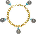 Estate Jewelry:Bracelets, South Sea Cultured Pearl, Turquoise, Diamond, Gold Bracelet. ...