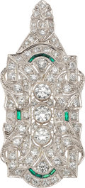 Estate Jewelry:Brooches - Pins, Art Deco Diamond, Emerald, Platinum Pendant-Brooch. ...