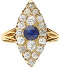 Estate Jewelry:Rings, Sapphire, Diamond, Gold Ring, English. ...