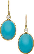 Estate Jewelry:Earrings, Turquoise, Diamond, Gold Earrings, Piranesi. ...
