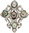 Estate Jewelry:Brooches - Pins, Edwardian Pearl, Diamond, Platinum-Topped GoldPendant-Enhancer-Brooch. ...
