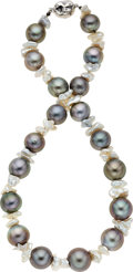 Estate Jewelry:Necklaces, South Sea and Freshwater Cultured Pearl, Diamond, White GoldNecklace. ...