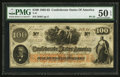 "Confederate Notes:1862 Issues, Manuscript Endorsement ""Major J.F. Cummings"" T41 $100 1862 PF-22Cr. 320A.. ..."