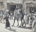 Mainstream Illustration, PETER SHEAF NEWELL (American, 1862-1924). The Johnson Family inCairo Street, 1893. Ink wash on paper laid on board. 13....