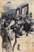 Mainstream Illustration, GEORGE EDMUND VARIAN (American, 1865-1923). News byMegaphone. Ink wash and pencil on paper laid on board. 23.25 x15.62...