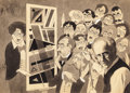 Mainstream Illustration, CHARLES HUGHES (American, 20th Century). The JudgingCritics, 1941. Ink wash on paper laid on board. 13.75 x 19 in.(ima...