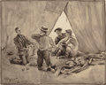 Mainstream Illustration, Arthur Ignatius Keller (American, 1866-1924). Boys and theirTents, 1894. Ink wash on paper laid on board. 12.75 x 16 in...
