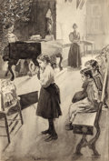 Mainstream Illustration, JAY HAMBIDGE (American, 1867-1924). Choosing Her Doll. Inkwash on board. 15.5 x 21.875 in. (image). Signed lower right...
