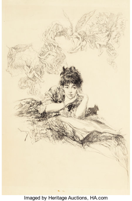 WILLIAM MERRITT BERGER (American, 1872-1937) Pixie Dreams Ink on paper 24.5 x 17.25 in. (sheet) Signed lower left ...