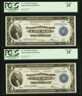 Fr. 727 $1 1918 Federal Reserve Bank Notes Two Consecutive Examples PCGS Very Fine 35