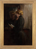 Fine Art - Painting, American:Antique  (Pre 1900), JAMES CARROLL BECKWITH (American, 1852-1917). Grandmother's LoveLetters, circa 1895. Oil on canvas. 50 x 34 inches (127...