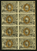 Fractional Currency:Second Issue, Fr. 1232 5¢ Second Issue Block of Eight Fine.. ...