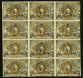 Fractional Currency:Second Issue, Fr. 1232 5¢ Second Issue Block of Twelve Fine.. ...