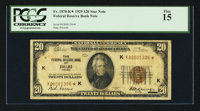 Fr. 1870-K* $20 1929 Federal Reserve Bank Note. PCGS Fine 15