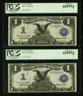 Large Size:Silver Certificates, Fr. 229 $1 1899 Silver Certificate Cut Sheet of Four PCGS Gem New 66PPQ & 65PPQ.. ... (Total: 4 notes)
