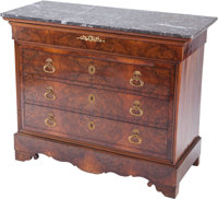 AN ENGLISH LOUIS PHILIPPE-STYLE BURL WALNUT AND MAHOGANY COMMODE WITH GILT BRONZE MOUNTS AND MARBLE TOP, circa 1900