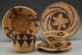 American Indian Art:Baskets, FOUR PAPAGO COILED BASKETRY ITEMS... (Total: 5 Items)