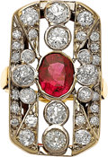 Estate Jewelry:Rings, Antique Ruby, Diamond, Platinum-Topped Gold Ring. ...