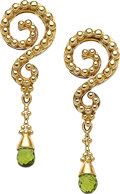 Estate Jewelry:Earrings, Peridot, Gold Earrings, Paula Crevoshay. ...