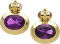 Estate Jewelry:Earrings, Amethyst, Tourmaline, Gold Earrings, Paula Crevoshay. ...