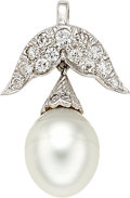 Estate Jewelry:Pendants and Lockets, South Sea Cultured Pearl, Diamond, Platinum Pendant. ...
