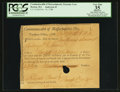 Colonial Notes:Massachusetts, Massachusetts Treasury Collector of Impost and Excise Tax'sCertificate 1 Pound, 11 shillings, 6 pence Nov. 14, 1788 MA-43PCG...