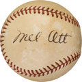 Autographs:Baseballs, 1940's Mel Ott Signed Baseball--Presents as a Single....