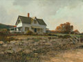 Fine Art - Painting, American:Contemporary   (1950 to present)  , ERIC SLOANE (American, 1905-1985). The Summer House, 1972.Oil on Masonite. 17-1/2 x 23-1/2 inches (44.5 x 59.7 cm). Sig...