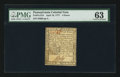 Colonial Notes:Pennsylvania, Pennsylvania April 10, 1777 4d PMG Choice Uncirculated 63.. ...