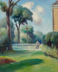 Fine Art - Painting, American:Modern  (1900 1949)  , GUY PÈNE DU BOIS (American, 1884-1958). Backyard. Oil oncanvas. 22-1/8 x 18 inches (56.2 x 45.7 cm). ...