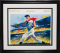 """Autographs:Others, 1998 Joe DiMaggio """"Yankee Clipper"""" Signed Print by LeRoy Neiman...."""