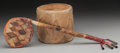 American Indian Art:Pipes, Tools, and Weapons, A PUEBLO DRUM AND A PLAINS RATTLE ... (Total: 2 Items)